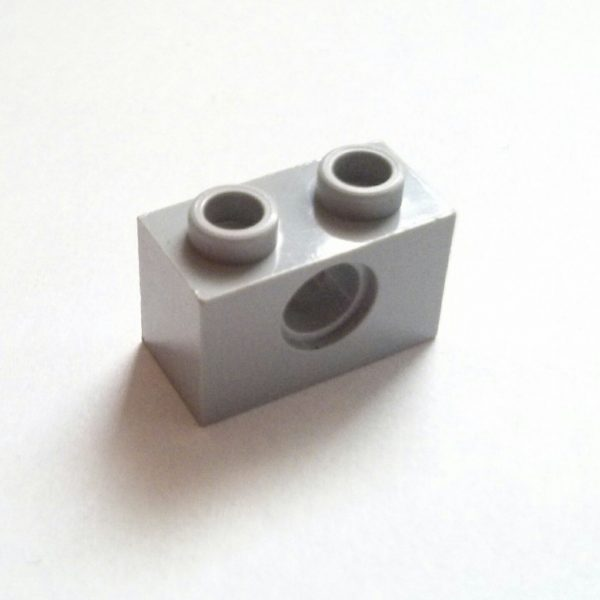 Light Bluish Gray Brick 1 x 2 w/ Pin Hole