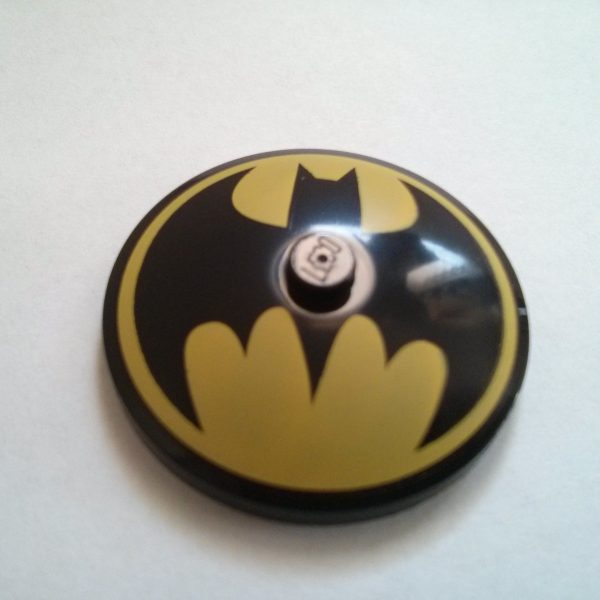 Black Dish Decorated 4 x 4 inverted radar Batman logo yellow pattern