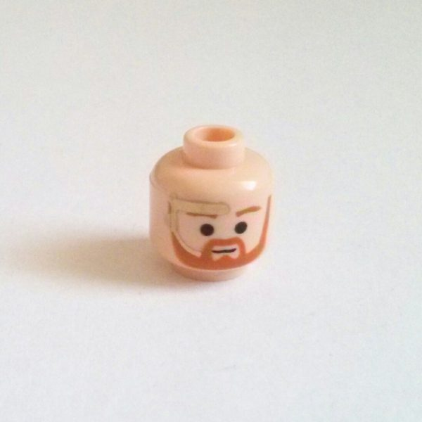 Flesh Minifigure Head Brown Facial Beard Gold Headset