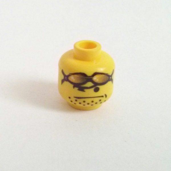 Yellow Minifigure Head Orange Sunglasses On Head Stubbled Chin